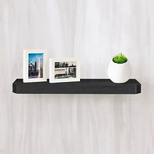 "Eco Friendly 24"" Uniq Floating Wall Shelf and Decorative Shelf, Black Wood Grain"