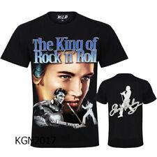 Elvis Presley King Of Rock & Roll Glitter Design T-Shirt Top Both Side Print
