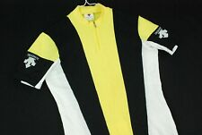 Vintage 90s Descente 1/2 Zip Striped Cycling Jersey Made Japan Bright Yellow S