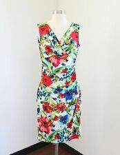 Lauren Ralph Lauren White Blue Red Ruched Spring Floral Wiggle Dress Size 8