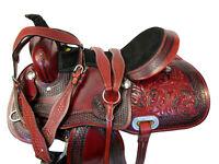 16 17 BEAUTIFUL HAND TOOLED TRAIL HORSE WESTERN SADDLE PLEASURE SHOW LEATHER SET