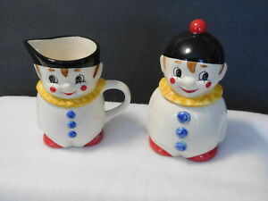 Vintage GOEBEL Colorful Clown Creamer Pitcher Sugar Bowl Excellent condition