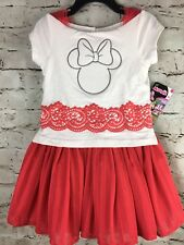 Girls Disney Junior Minnie Mouse Red White Tulle Dress Size 5