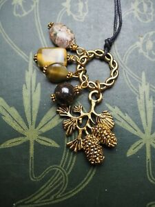 Pine Cone Charm Pendant with Gemstone Beads- Pagan, Wicca, Witchcraft, Ogham