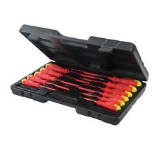 ELECTRICIANS INSULATED 11 PIECE SCREWDRIVER SET IN CARRY CASE SLOTTED PHILLIPS