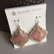 NWT Kendra Scott Kirsten Drop Dangle Earrings Gold Pink Rhodonite