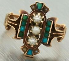 Antique Victorian 1870s Estate 14K 585 Rose Gold Turquoise Seed Pearl Ring
