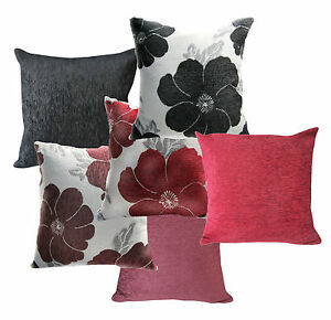 (Wb) Flower Black Burgundy Red Pattern Cotton Blend Cushion Cover/Pillow Case