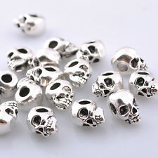 20pcs Silver Tone Skull Head Charm Bracelet Pendants Jewelry Making DZ027
