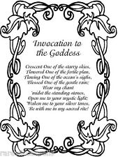 Invocation of the Goddess 2 pgs  Wicca Book of Shadows Spell Page