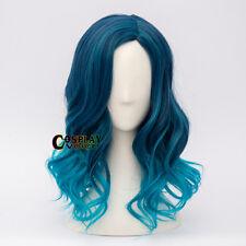 Fancy Party Lolita Mixed Blue 45CM Medium Curly Women Girls Cosplay Wig