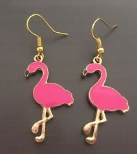 Funky Unique Gold Hot Pink Plated Flamingo Bird Animal Lover Earrings Free Post