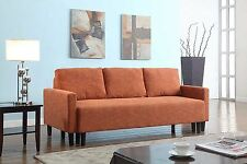 FUTON SOFA COUCH Bed Sleeper Convertible Living Room Furniture Dorm Orange Wood