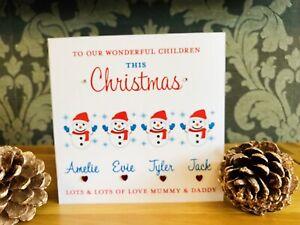 Handmade personalised Christmas Card Children Grandchildren Niece Nephew ⛄️