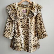 Juicy Couture Faux Fur Leopard Print COAT Womens Medium M Jacket