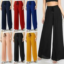 WOMENS WIDE LEG CHIFFON PALAZZO FLARED CREPE BAGGY PANTS LOUNGE STRETCHY TROUSER