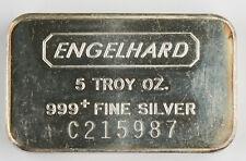 Engelhard 5 Oz Troy Oz 999 Pure Silver Bar; C Series @Scarce@