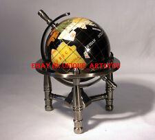 Unique Art 6-Inch Mini black  Gemstone World Globe with silver Tripod office