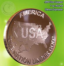 "America ""One Nation Under God"" 1 oz .999 Copper Round USA"