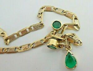 Pulsera de oro de 3 colores y esmeraldas naturales sin tratar