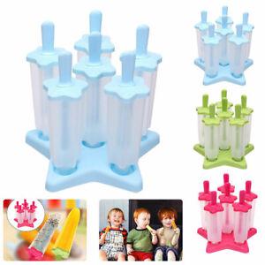 Eis am Stiel Formen 6er Set Eisformen Eisförmchen Stieleisform im DIY Ice Pop F