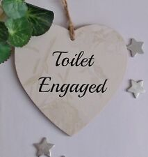 Engaged /Vacant Toilet door double sided New Home Wooden Gift Plaque