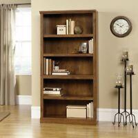 5-Shelf Wood Bookcase Adjustable Oak Shelves Bookshelf Storage Library Cabinet