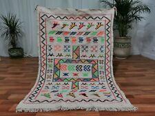 Moroccan White Handmade wool carpet 3'x5' Berber Nomad Sahara wool Rug M3