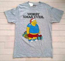 "THE SIMPSONS Holiday Christmas Grey T-SHIRT "" Worst Xmas Ever "" ( L ) Free Ship"