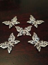 5 x Silver Metal Butterflies Filigree Embellishments Card Crafts Favours