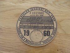 Original Vintage norton sidecar  Bicycle Tax Disc june 1960