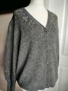 Gorgeous Monsoon Grey Alpaca Wool Cardigan Size XL Embellished Beaded Layer