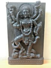 Hindu Goddess Durga Kali Devi Temple Vintage Wall Wooden Panel sculpture Statue