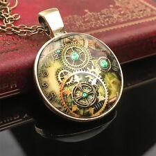 Cabochon Bronze Anhänger Kettengetriebe Zahnrad Muster Halskette Modeschmuck