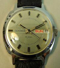 Reloj Pulsera VINTAGE SEKONDA Día Fecha De Cuerda 26 joya movimiento Caballeros Década de 1960