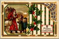 Santa Claus with Children~Toys~Holly~Antique 1910 Christmas Postcard-s904