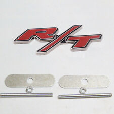Red RT R/T Logo For Dodge Ram/Charger Head Fro Grille Emblem Clip Badge 3D Metal