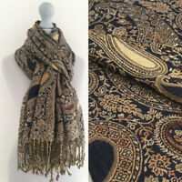 Ladies Brown Paisley Scarf Pashmina Shawl Evening Wrap Long Multi Colour Vintage