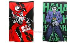 """Dc Comics Batman 2pc Licensed 50"""" x 30"""" Harley Quinn & the Joker Flag Banner Set"""