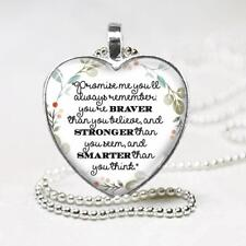 Winnie-the-Pooh Quote Braver Stronger Glass Top Heart Pendant Necklace Handmade