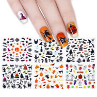 24 Sheets Halloween Nail Art Stickers Adhesive Transfer 3D Decals Decoration