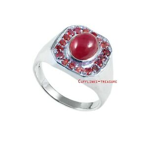Natural Ruby & Garnet Gemstones With 925 Sterling Silver Ring For Men's