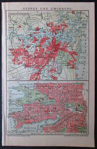 Antique map. AUSTRALIA. CITY MAP OF SYDNEY & SURROUNDINGS. 1909