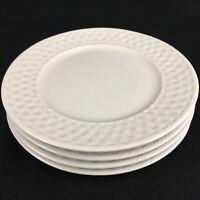 "Set of 4 Salad Plates 7 1/2"" Oneida Gourmet Wicker White Stoneware Basketweave"