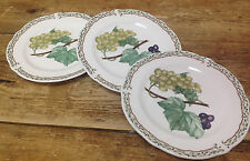 Noritake Royal Orchard Fruit 3 Bread Butter Plates Vines Primachina Green Grapes