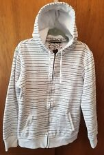Tony Hawk Full Zipper Jacket Hoodie Boys XL White w/ Black Tony Hawk Stripes EUC