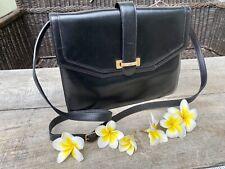 Authentic Celine Vintage Classic Black Leather Flap Crossbody Bag🌺Rare!