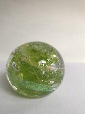 Vintage Art Glass Paperweight, Green swirl Bubble Art,