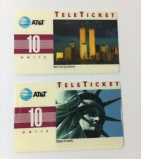 1992 World Trade Center And Statue Of Liberty AT&T Teleticket Phone Cards (7260)