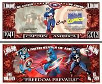 Captain America Million Dollar Bill Play Funny Money Novelty Note + FREE SLEEVE